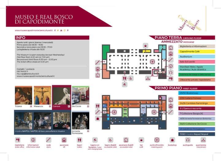 museo di capodimonte - mappa piano ammezzato e primo piano